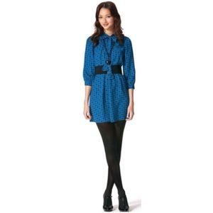 ANNA SUI Blue Black Mod Pussy Bow Dress Size Small